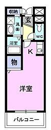JR京浜東北・根岸線 大宮駅 バス12分 日大前下車 徒歩2分の賃貸マンション 1階ワンルームの間取り