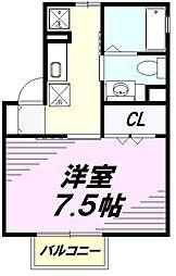 JR中央線 八王子駅 バス24分 下犬目下車 徒歩1分の賃貸アパート 2階1Kの間取り