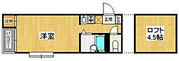 福岡県福岡市西区姪の浜4丁目の賃貸アパートの間取り