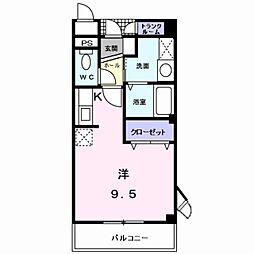 プチ・ソレール 1階ワンルームの間取り