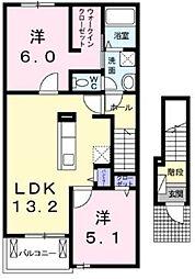相鉄いずみ野線 弥生台駅 徒歩15分の賃貸アパート 2階2LDKの間取り