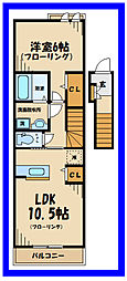 京王線 多磨霊園駅 徒歩5分の賃貸アパート 2階1LDKの間取り