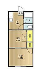 東京都日野市程久保2丁目の賃貸アパートの間取り