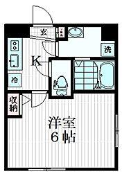 コンフォシード東坂下 4階1Kの間取り