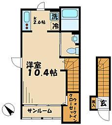 小田急小田原線 柿生駅 徒歩4分の賃貸アパート 2階1Kの間取り