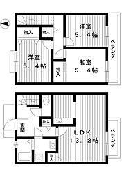 [テラスハウス] 東京都練馬区貫井5丁目 の賃貸【/】の間取り