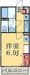 JR京葉線 検見川浜駅 徒歩11分の賃貸マンション 2階1Kの間取り