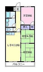 パラストオカザワ[2階]の間取り