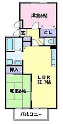 大阪府堺市美原区丹上の賃貸アパートの間取り