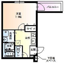 Osaka Metro御堂筋線 新金岡駅 徒歩10分の賃貸アパート 1階1Kの間取り