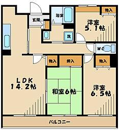 JR南武線 矢野口駅 徒歩5分の賃貸マンション 2階3LDKの間取り