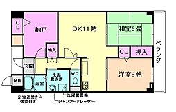 大阪府豊中市向丘2丁目の賃貸マンションの間取り