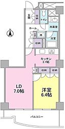 文京グリーンコート ビュータワー本駒込 3階1LDKの間取り