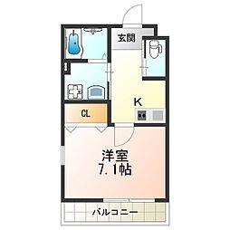 エム・ステージ矢田IIB 1階1Kの間取り