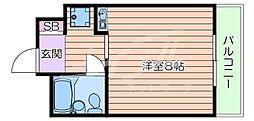 阪急千里線 千里山駅 徒歩10分の賃貸マンション 地下1階1Kの間取り