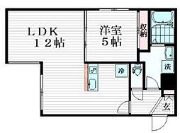 コンフォシード東坂下 2階1LDKの間取り