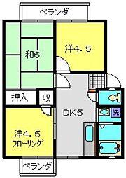 神奈川県横浜市旭区鶴ケ峰本町1丁目の賃貸アパートの間取り