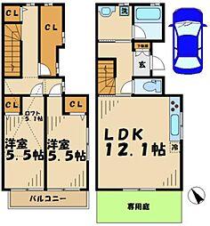 [テラスハウス] 神奈川県川崎市麻生区片平8丁目 の賃貸【/】の間取り