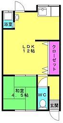東美荘1号棟[2号室]の間取り