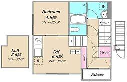 浅草町Berg38 2階1DKの間取り