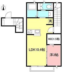 JR中央線 三鷹駅 徒歩8分の賃貸アパート 2階1LDKの間取り