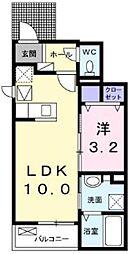 小田急小田原線 玉川学園前駅 徒歩13分の賃貸アパート 1階1LDKの間取り