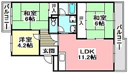 レジデンス吉川3号棟 3階3LDKの間取り