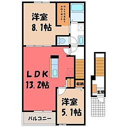 JR東北本線 氏家駅 徒歩36分の賃貸アパート 2階2LDKの間取り