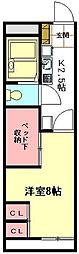 JR高崎線 北本駅 徒歩20分の賃貸アパート 1階1Kの間取り