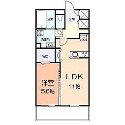 アメニティー多摩区枡形1丁目アパート 2階1LDKの間取り