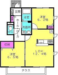 兵庫県加古川市加古川町木村の賃貸アパートの間取り