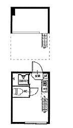 都電荒川線 庚申塚駅 徒歩2分の賃貸アパート 1階ワンルームの間取り