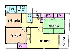 大阪府豊中市北桜塚2丁目の賃貸マンションの間取り