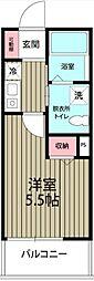 京成本線 船橋競馬場駅 徒歩2分の賃貸アパート 1階1Kの間取り