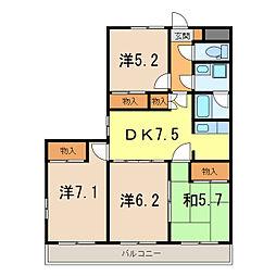 栃木県栃木市室町の賃貸マンションの間取り