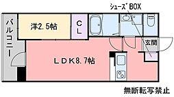 福岡市地下鉄空港線 藤崎駅 徒歩6分の賃貸マンション 9階1LDKの間取り