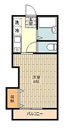 JR五日市線 東秋留駅 徒歩4分の賃貸アパート 1階1Kの間取り