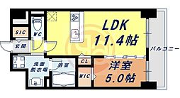 Osaka Metro四つ橋線 花園町駅 徒歩13分の賃貸マンション 7階1LDKの間取り
