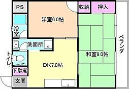 大阪府枚方市楠葉中町の賃貸マンションの間取り