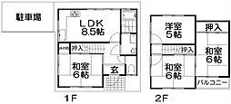 [テラスハウス] 大阪府枚方市香里園東之町 の賃貸【/】の間取り