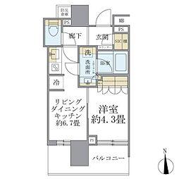 JR山手線 秋葉原駅 徒歩6分の賃貸マンション 4階1DKの間取り