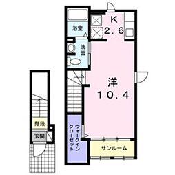 モンテセレノII 2階1Kの間取り