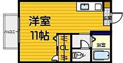サンライト西片江 B[201号室]の間取り