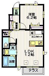 小田急小田原線 成城学園前駅 徒歩5分の賃貸アパート 1階1LDKの間取り