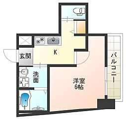 JR大阪環状線 西九条駅 徒歩7分の賃貸マンション 6階1Kの間取り