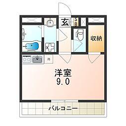 阪神本線 出屋敷駅 徒歩7分の賃貸アパート 1階ワンルームの間取り