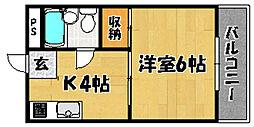 阪急京都本線 上新庄駅 徒歩8分の賃貸マンション 3階1Kの間取り