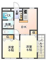 愛知県岡崎市若松町字大廻の賃貸アパートの間取り