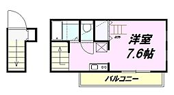 京王高尾線 高尾山口駅 徒歩10分の賃貸アパート 2階ワンルームの間取り