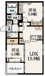 (仮称)矢野口メゾンA 2階2LDKの間取り